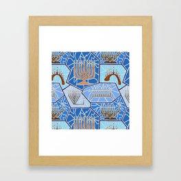 Hanukkah Menorah Mosaic in Dark Blues Framed Art Print