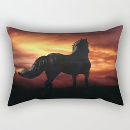 Horse kissed by the wind at sunset Rectangular Pillow