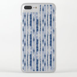 Shibori Stripes 2 Indigo Blue Clear iPhone Case
