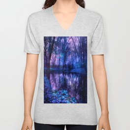 Enchanted Forest Lake Purple Blue Unisex V-Neck