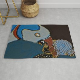 Parrot Pecking the Seeds Away Rug