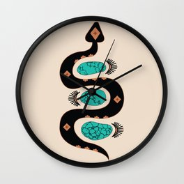 Southwestern Slither in Black Wall Clock