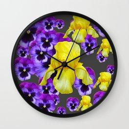 GREY  PATTERN YELLOW IRIS PURPLE PANSY Wall Clock