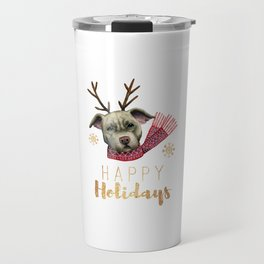 Christmas Reindeer Pit Bull with Faux Gold Fonts Travel Mug
