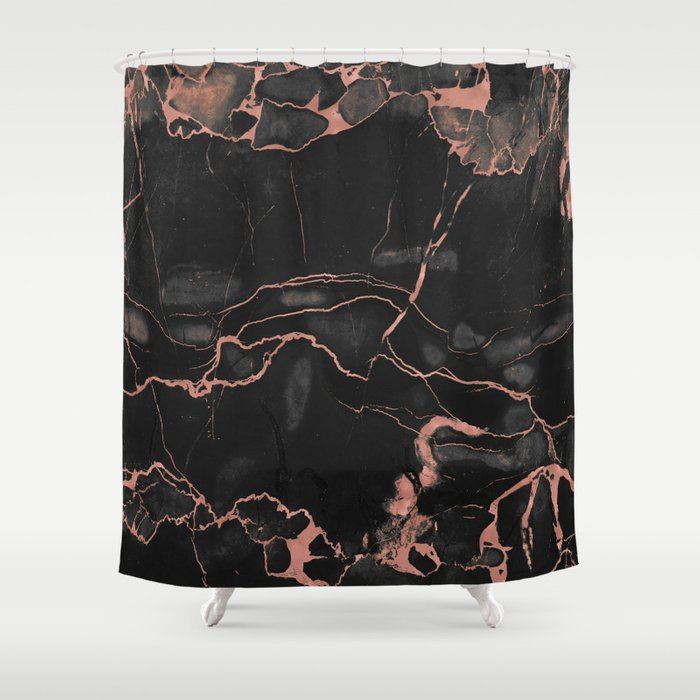 Black Marble And Rose Gold Shower Curtain