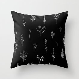 Black wildflowes Big Throw Pillow