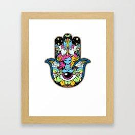Hamsa Hand Spiritual Unicorn Yoga T-Shirt Gift Framed Art Print