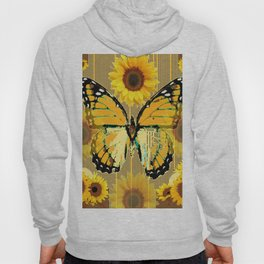 NUT & PUTTY COLORED YELLOW SUNFLOWERS ART Hoody