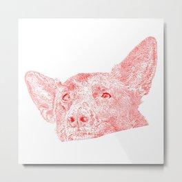 Mitzi takes it easy, red Metal Print