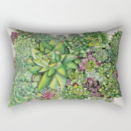 Watercolour Succulents Rectangular Pillow