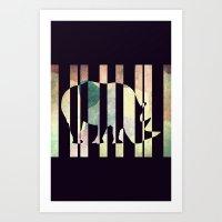 rhino Art Prints featuring Rhino by Yasmina Baggili