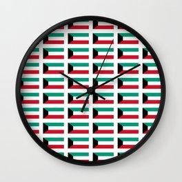 Flag of kowait -kuwaiti,,الكويت ,Kuwait City,كويتي ,arabia,failaka,bubiyan,Al jahrah,abdali Wall Clock