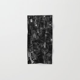 Night city glow B&W / 3D render of night time city lit from streets below in black and white Hand & Bath Towel
