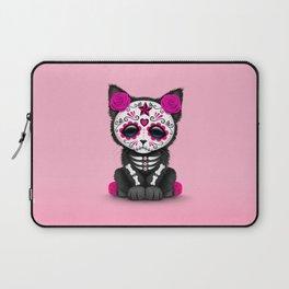 Cute Pink Day of the Dead Kitten Cat Laptop Sleeve