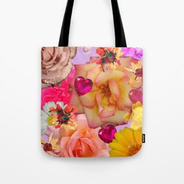 Abstract Hearts & Flowers Tote Bag