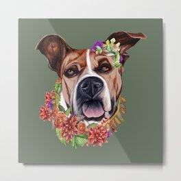 Flower power puppy Metal Print