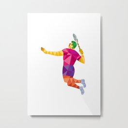 Badminton Player Jump Smash Low Polygon Metal Print