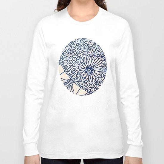 Blue Oriental Vintage Tile 01 Long Sleeve T-shirt