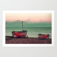 sailboat Art Prints featuring Sailboat by Regan's World