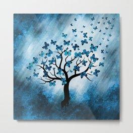 Butterfly Tree - Blue Marble Mist Metal Print