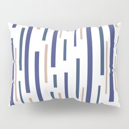 Interrupted Lines Mid-Century Modern Minimalist Pattern in Blue, Purple, and Taupe on White Pillow Sham