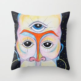 Third Eye Alien Geometric Painting Ascension Clairvoyant Channeled ARtwork Throw Pillow