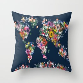 world map floral Throw Pillow