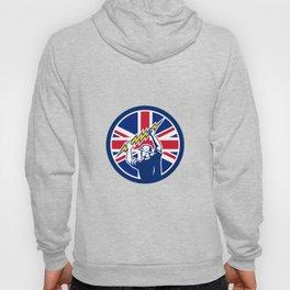 British Electrician Union Jack Flag icon Hoody