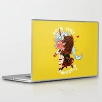 fangirl Laptop & iPad Skins featuring 100% Yuri fangirl by pancakearts