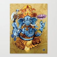 ganesh Canvas Prints featuring Ganesh by RICHMOND ART STUDIO