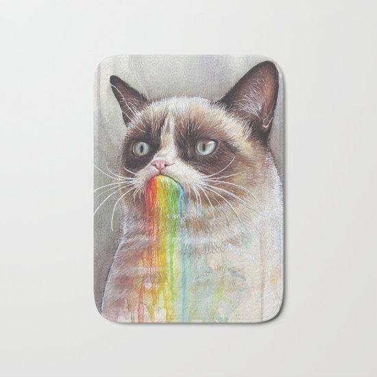 Cat Tastes the Grumpy Rainbow   Watercolor Painting Bath Mat