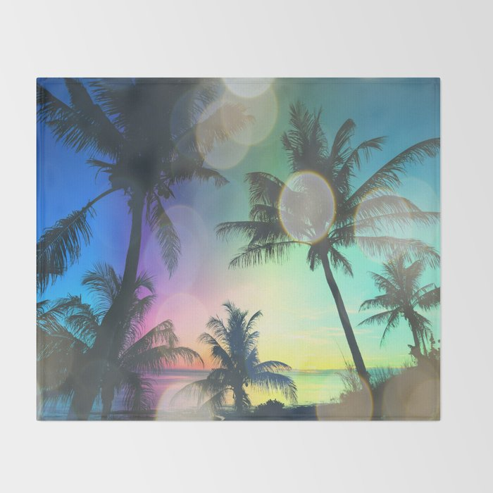 Summer Dreams : Pastel Palm Trees Throw Blanket