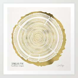 Douglas Fir – Gold Tree Rings Art Print