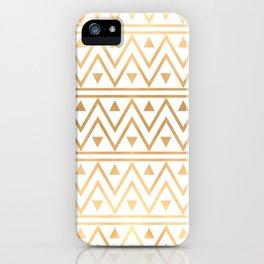 White & Gold Chevron Pattern iPhone Case