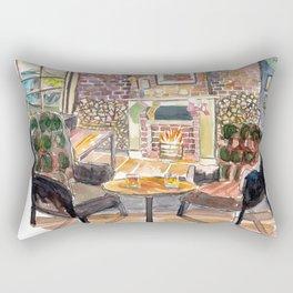 Coastal Cozy Bar with Fireplace and a View Rectangular Pillow