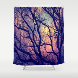 Black Trees Deep Pastels Space Shower Curtain