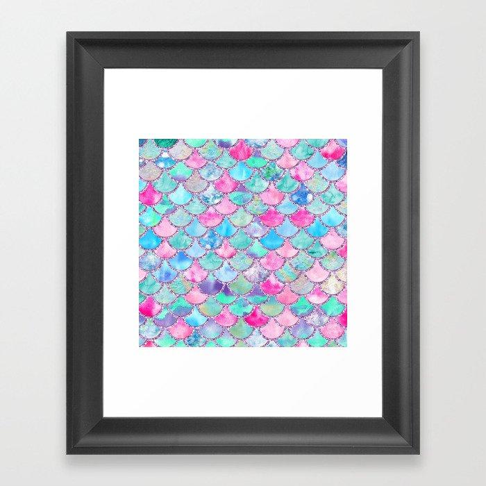 Colorful Pink and Blue Watercolor Trendy Glitter Mermaid Scales  Gerahmter Kunstdruck