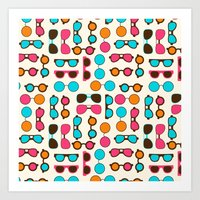 sunglasses Art Prints featuring Sunglasses by Valendji
