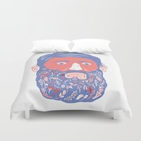 beard Duvet Covers featuring Flowers in Beard by David Penela