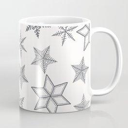 Grey Snowflakes On White Background Coffee Mug