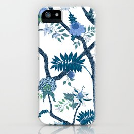 Peony Branch Mural BLue Green iPhone Case