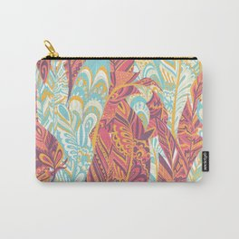 Modern abstract pink teal yellow hand painted bohemian feathers Carry-All Pouch
