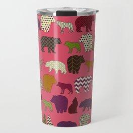 bear wolf geo party pink Travel Mug