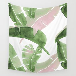 Tropical Leaves Green And Pink Wall Tapestry