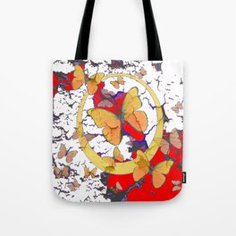 YELLOW  BUTTERFLIES IN WHITE & RED ABSTRACT Tote Bag