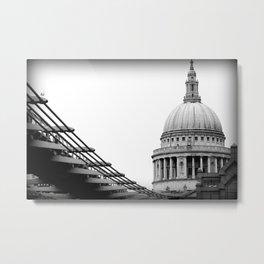 St Paul's Cathedral & The Millennium Bridge, London, UK Metal Print