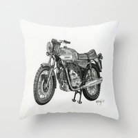motorbike Throw Pillows featuring Stippled Motorbike  by Rachael Kotvojs