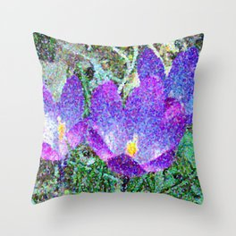 Purple Crocus Mosaic Throw Pillow