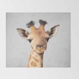 Baby Giraffe - Colorful Throw Blanket