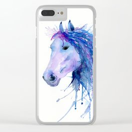 Watercolor Abstract Horse Portrait Clear iPhone Case